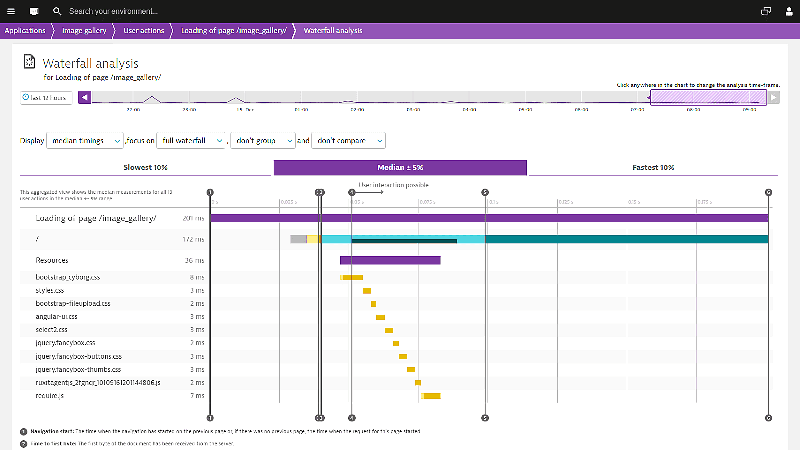 Dynatrace angular waterfall for initial page load