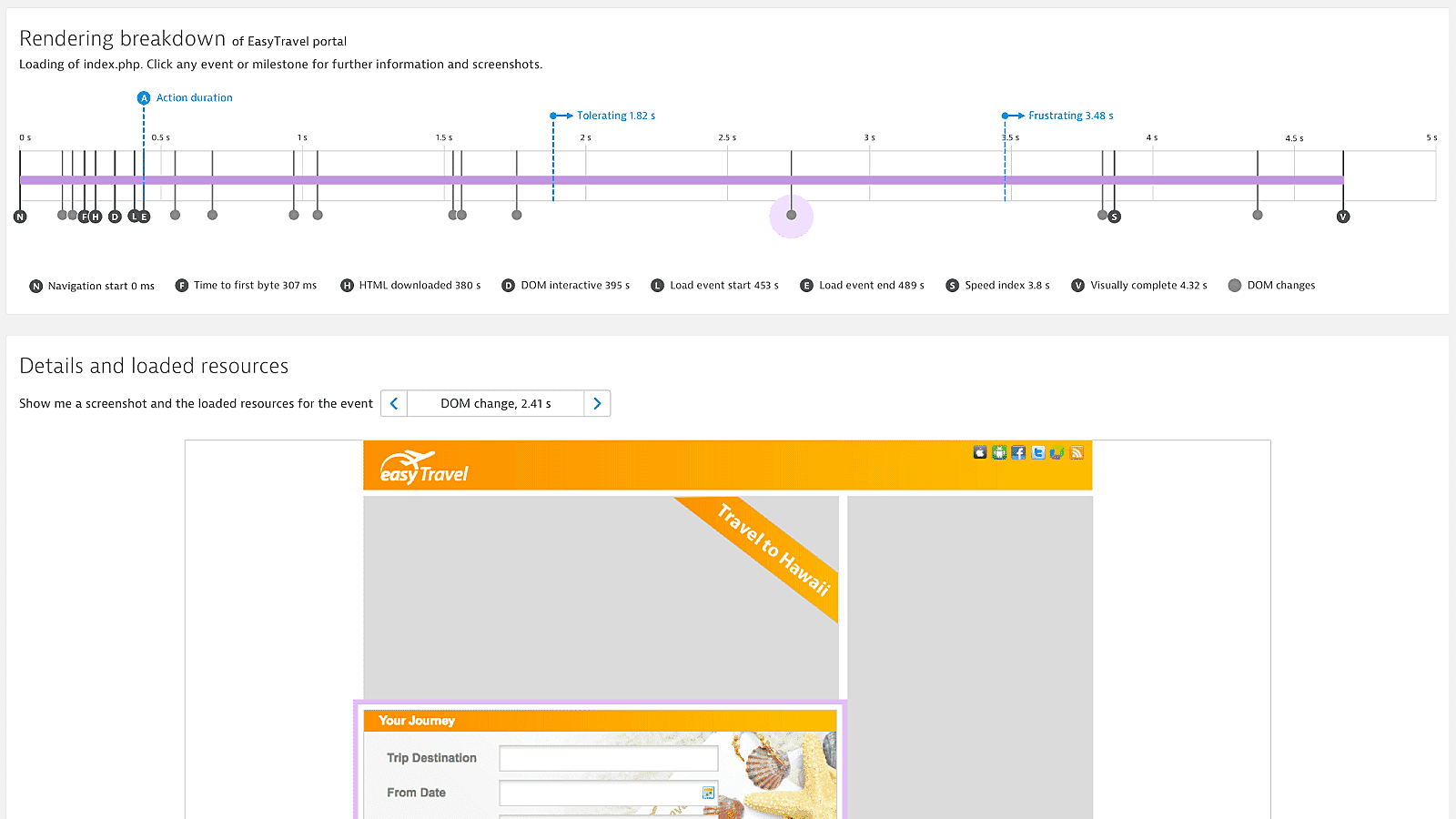 Dynatrace single page app loading